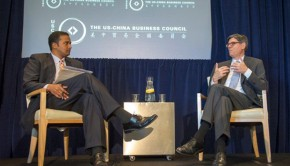 US Treasury Secretary Jack Lew and Wall Street Journal Economics Editor Sudeep Reddy discuss this week's US-China Strategic and Economic Dialogue. (Photo by Kaveh Sardari)