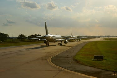 Airplanes on a runway
