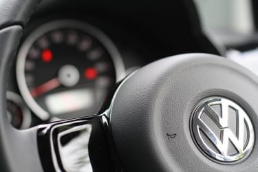 Volkswagen logo on steering wheel