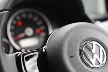 Volkswagen logo on steering wheel
