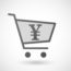 Illustration of an isolated shopping cart icon with a yen sign