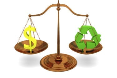 Justice in ecology, concept of profit versus recycling with bronze scale isolated on white background