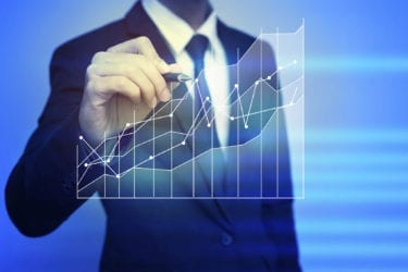 Closeup image of businessman drawing  graph,business strategy as concept