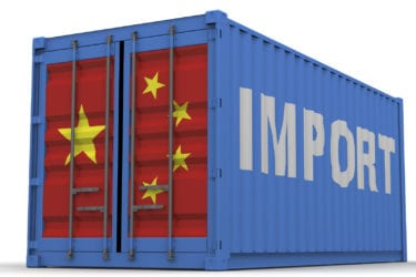 """Freight container on a white surface with inscription """"IMPORT"""" and images of the flag of China on the doors. The three-dimensional illustration. Isolated"""