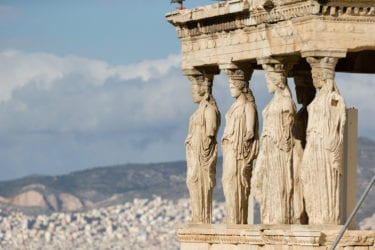 The famous ladies of the Erechtheum Temple in Athens, Greece