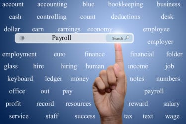 Business and technology, searching system and internet concept - male hand pressing Search Payroll button.
