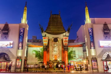 Los Angeles, California, USA - March 1, 2016: Crowds gather at Grauman's Chinese Theater on Hollywood Boulevard. The landmark theater has hosted numerous premieres and award ceremonies since it opened in 1927.